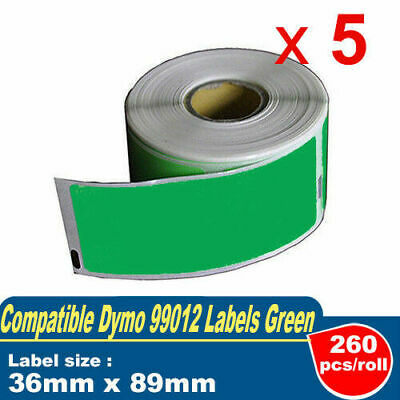 5 Compatible for DYMO 99012 Label Green 36mm x 89mm Labelwriter450/450 turbo