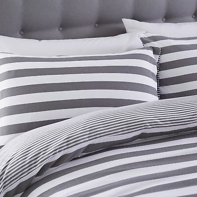 Silentnight Jersey Cotton Stripe Duvet Cover & Pillowcase Bedding Set, Grey