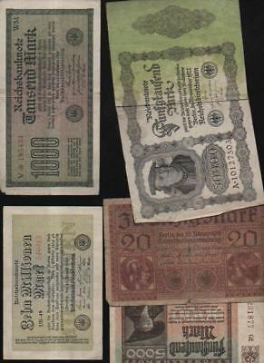 (a61649)   Reichsbankdirektorium 20 Mark 1918,1000 Mark von 1922,  5000 Mar