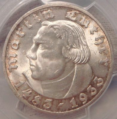 5 Mark 1933-F Lither Germany PCGS MS64 Silber