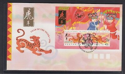 CHRISTMAS IS  1998  Year of the TIGER  MINISHEET on FDC.