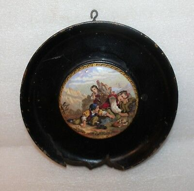 Antique Prattware Pot Lid I See You My Boy In Large Ebonised Wood Frame