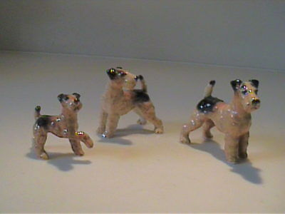 Vintage 1960's Miniature Bone China Family Of Airedale Terrier Dogs