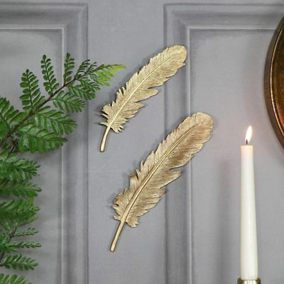 Pair of antique gold feather wall art decoration vintage chic decorative display