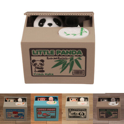 Automatic Stealing Money Cat Panda Piggy Bank Coin Saving Box Case Gift US STOCK