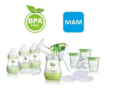 MAM Breast Feeding Starter Set Breast Pump Bottles Pads Pots Discs 0m+