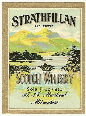 Strathfillan Scotch Whisky Vintage Label A. A. Muirhead Milnathort, Scotland
