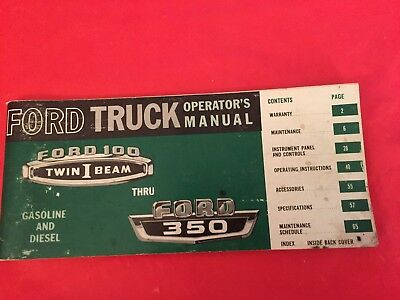"1965 Ford ""F-100 F-250 F-350 Gasoline & Diesel"" Truck Owner's Operator's Manual"