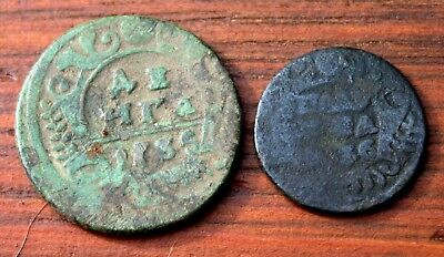 2 Very Old Russian Bronze Coins Dated 1700's  LOT #8