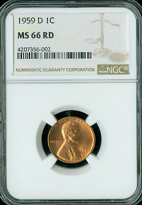 1959-D Lincoln Cent Ngc New Logo Ms66 Red   *