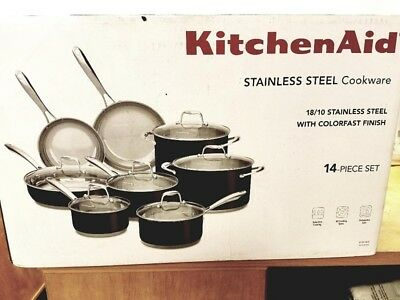 New Kitchenaid Cookware Set 14 Pc Stainless Steel 219 00