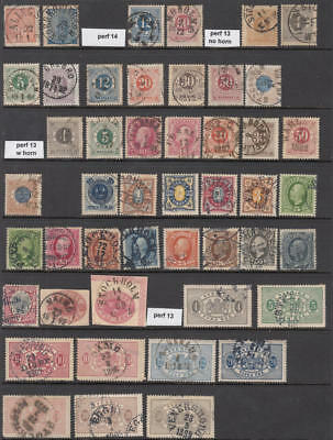 Sweden 19th Century Collection 47 diff used stamps cv $162