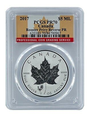 2017 Canada Silver Reverse Proof Maple Leaf Rooster Privy PCGS PR70 Flag Label