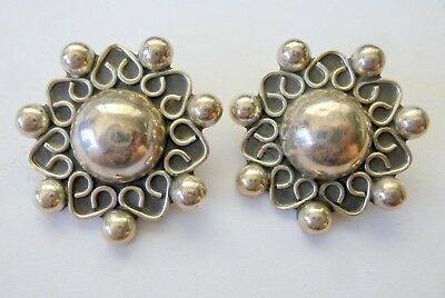 Vintage Sterling Silver Earrings 925 Taxco Mexico Clip Ons Puffy Beaded