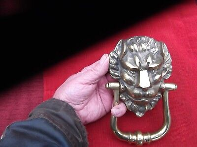 Vintage Very Heavy & Large Brass English Lion Door Knocker/green Man Knock