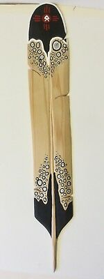 Carved Large cedar Eagle Feather w/paint design/4 Direction: Jason Tomah, Mikmaw
