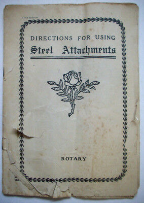 Greist early Instruction booklet for Steel attachments rotary sewing machine K1