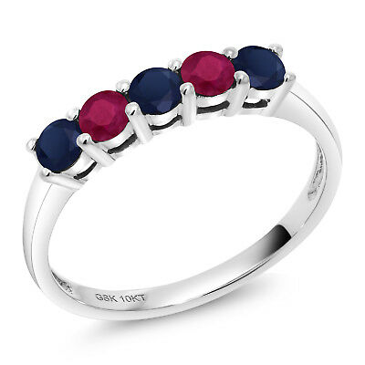 0.67 Ct Round Blue Sapphire Red Ruby 10K White Gold 5 Stone Band Ring