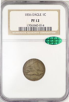 1856 Flying Eagle Cent Penny 1c NGC PF12 CAC Certified Coin JY649