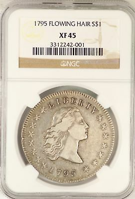 1795 Flowing Hair Silver Dollar NGC XF45 Certified $1 Coin JY654