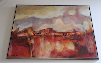 Reeves Signed Vintage 1970 Abstract Expressionism Painting Taos Pueblo Indian