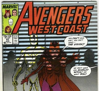 AVENGERS WEST COAST #47 Scarlet Witch & Vision from Aug. 1989 in VF- con. NS