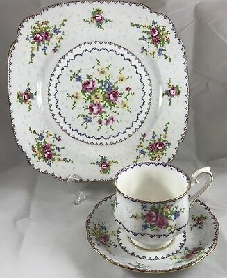 Royal Albert Petite Point Trio Footed Cup Saucer Square Salad Plate 8.75 Inches