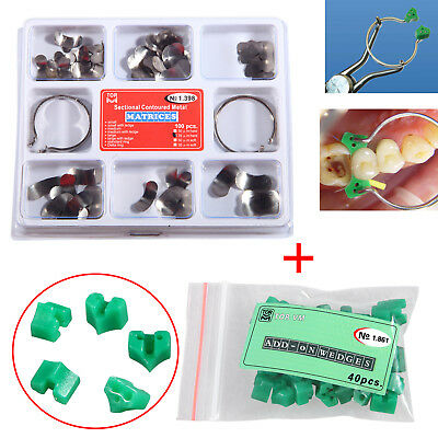 Dental Sectional Contoured Metal Matrices 35 μm hard Kit + Add On Wedges Rubber