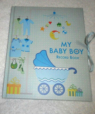 My Baby Boy Carriage Bib Shoes Moon Gifts Blue Record Hardcover Memory Book