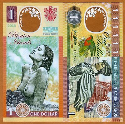Pitcairn Islands, $1 Private issue Clear window Polymer, 2018 Polynesian Nude