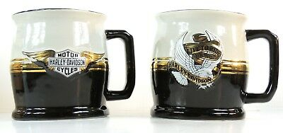 Harley Davidson Two Licensed Mugs 15 oz Black Gold & Silver Ships Quickly