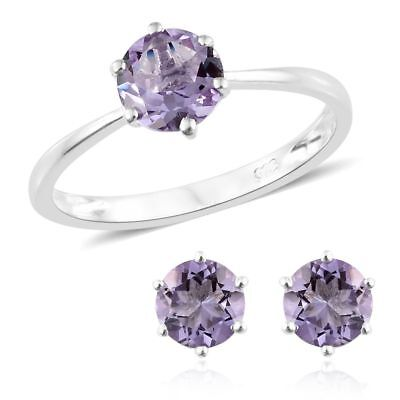 Set of 2 Rose De France Earrings and Ring for Women In 925 Sterling Silver