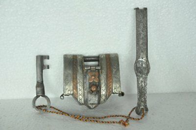 Old Iron Handcrafted Solid Heavy 2 Key Engraved Strip System Padlock