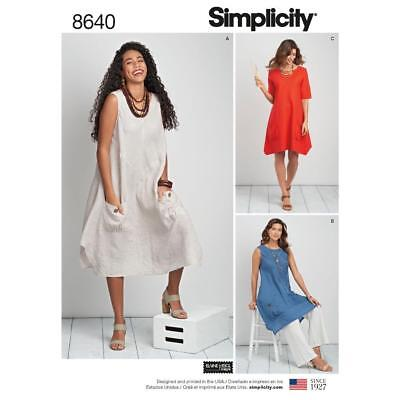 Simplicity Sewing Pattern Women's Plus Size Dres Or Tunic - Size 10-28W 8640