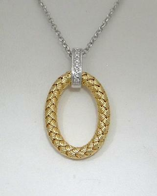 """Charles Garnier Ravello 18/"""" Gold-Plated Sterling Silver Oval Pendant CZ Necklace"""