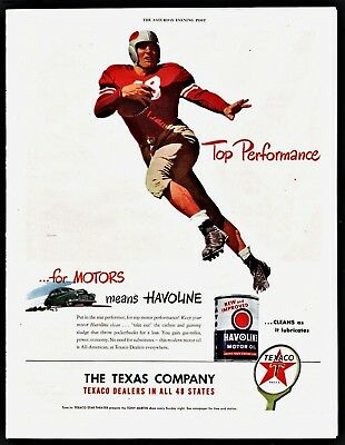 1947 TEXACO Gasoline Havoline Oil Football Player Art Vintage AD