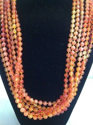 Vintage Antique Retro Mid Century Red Orange Beaded Necklace Clip On Earrings
