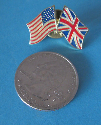 NEW Lapel Pin Crossed Flags UNITED STATES - ENGLAND UNITED KINGDOM Clutch Back