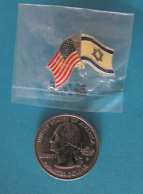 NEW Lapel Pin Crossed Flags UNITED STATES - ISRAEL Clutch Back Pin