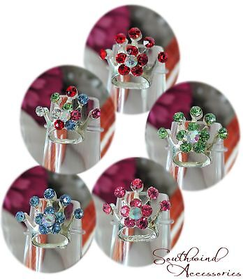 Crown Toe Ring On Stretch Illusion Band Your Choice In Color Of Crystals