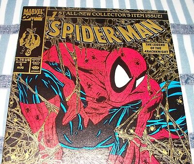 Spider-Man #1 Todd McFarlane Series Gold Edition from Aug 1990 in NM- con DM