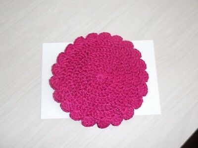 Artist Made Dollhouse Miniature Crocheted Round Baby's Room Throw Rug - Hot Pink