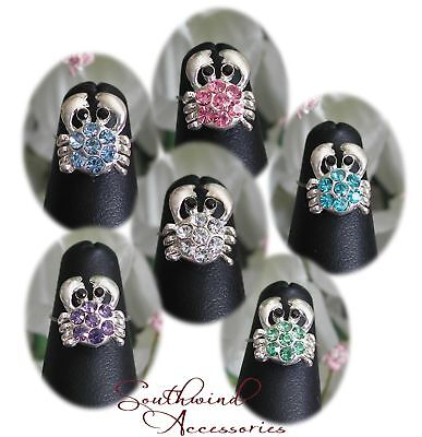 Crab Toe Ring SP On Stretch Illusion Band Your Choice In Color Of Crystals