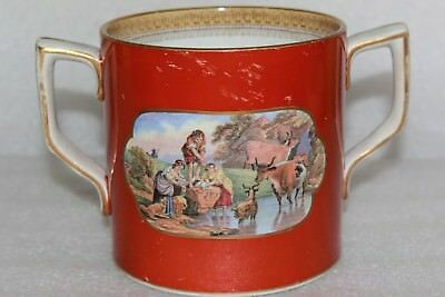 Antique Prattware Large Loving Cup Travellers Departure & The Torrent (Lot 29)