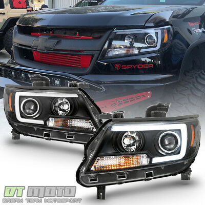 Black 2015 2016 2017 2018 Chevy Colorado LED Tube Projector Headlights Headlamps
