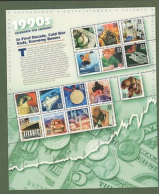 {BJ Stamps} 3191  33¢  Celebrate the Century  (1990s) sheet.   MNH Sheet of 15.