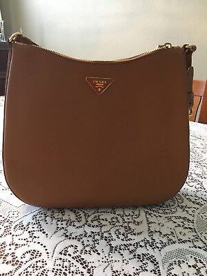 48a08145807ae5 Authentic Prada Saffiano Lux Leather Shoulder Bag in Caramel excellent  condition