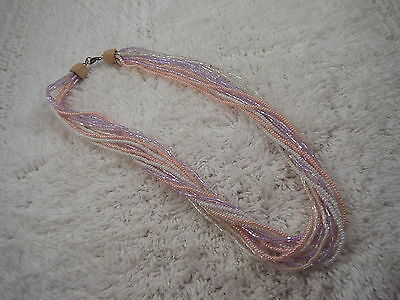 Multi Strand Pink White Lavender Glass Micro Bead Necklace (A78)