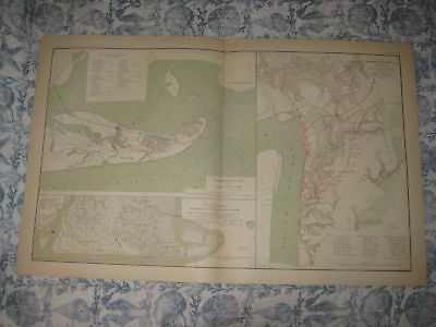 Antique 1891 Galveston Texas Charleston South Carolina Louisiana Civil War Map