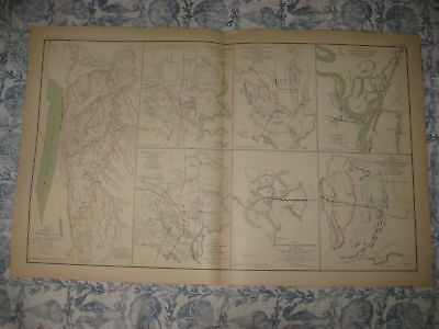 Antique 1891 Siege Of Vicksburg Jackson Mississippi Official Civil War Map Fine
